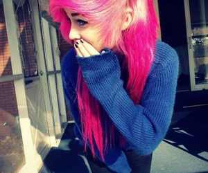 girl, pink hair, and emo image