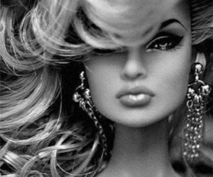 barbie, black and white, and doll image