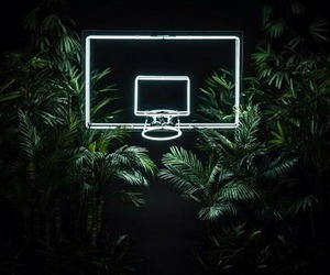 computer, neon lights, and trees image
