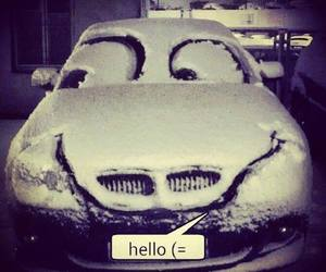 car, hello, and snow image