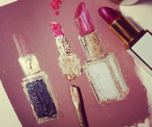 lipstick, art, and glitter image
