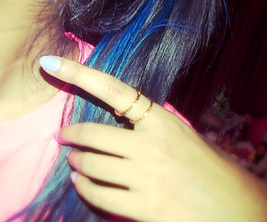 earrings, nails, and hair colour image