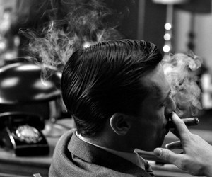 smoke, black and white, and mad men image