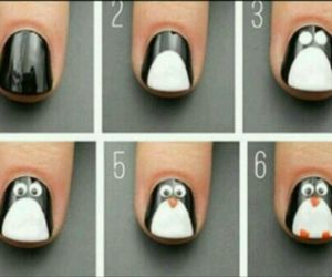 penguin, nails, and diy image