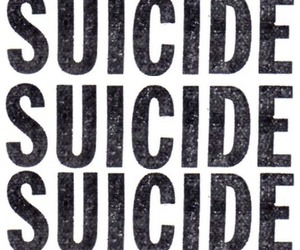 suicide, black and white, and text image