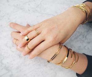 gold, rings, and bracelet image