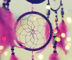 dreamcatcher, pink, and feathers image