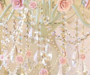 pink, chandelier, and rose image