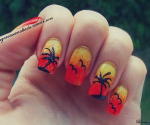 beach, nail art, and summer image