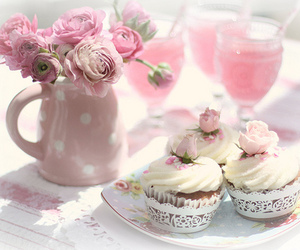 cake, coctail, and flower image