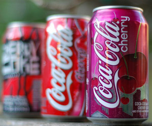 coca cola, cherry, and drink image