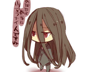 long black hair, red eyes, and small image