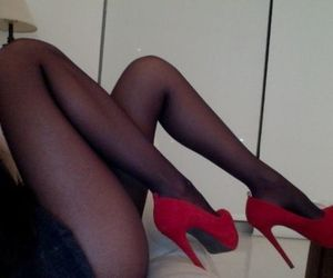 fashion, red heels, and high heels image