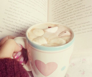 book, marshmallow, and coffee image
