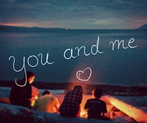 couple, love, and bonfire image