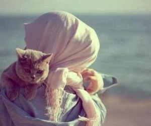 cat, girl, and hijab image