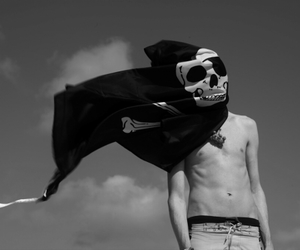 boy, skull, and black and white image