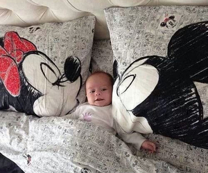 little, mickey mouse, and minnie mouse image