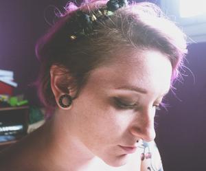 flower crown, Plugs, and purple hair image