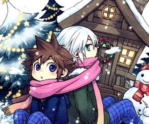 christmas tree, snow, and cold image