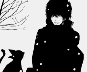 boy, cat, and snow image