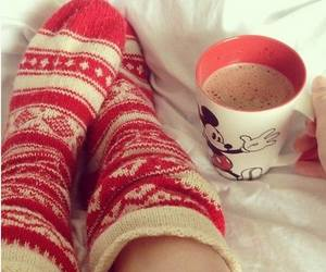 bed, coffee, and red image