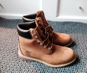 timberland, brown, and white image
