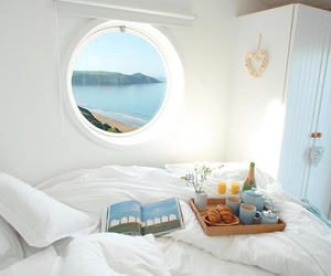bed, breakfast, and window image