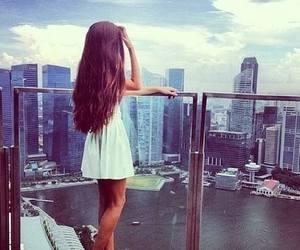 girl, dress, and city image