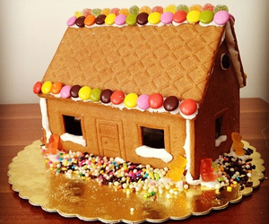 candy, colorful, and gingerbread house image