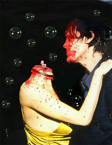 blood, bubbles, and kiss image
