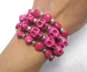 bracelet, hot pink, and skull image