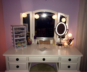 Brushes, vanity, and makeup image