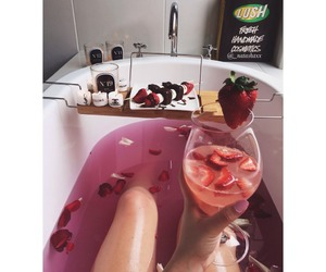 bath, strawberry, and relax image