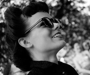 black and white, smile, and sunglasses image