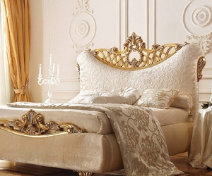 bed, gold, and interior image