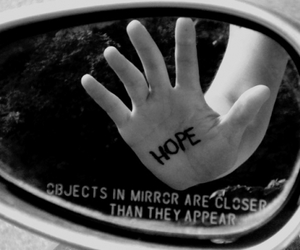 hope, mirror, and black and white image