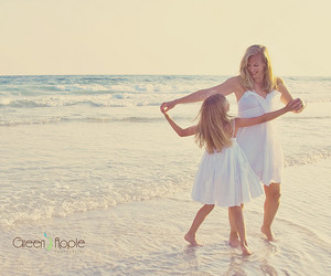 beach, mother, and daughter image