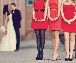 red, wedding, and dress image