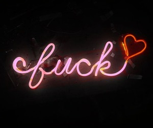 fuck, heart, and neon lights image