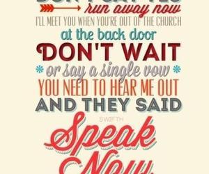 Taylor Swift, speak now, and Lyrics image