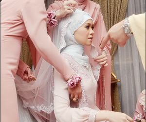 hijab, muslim, and wedding image