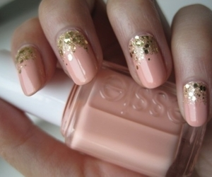 gold, nails, and pink image