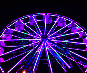 carnival, ferris wheel, and neon image