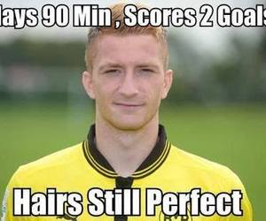 football, goal, and hair image