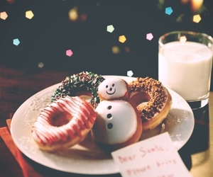 christmas, donuts, and milk image