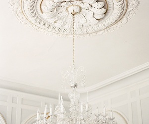 chandelier, white, and home image
