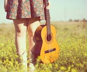 guitar, girl, and music image