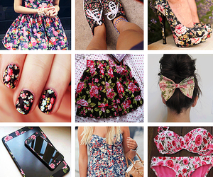 flowers, dress, and nails image