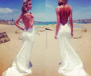 dress, beach, and bride image